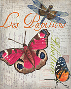 Old Painting Posters - Grey Postcard Butterflies 1 Poster by Debbie DeWitt