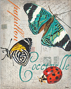Old Painting Posters - Grey Postcard Butterflies 2 Poster by Debbie DeWitt