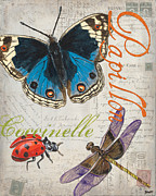 Old Painting Posters - Grey Postcard Butterflies 4 Poster by Debbie DeWitt