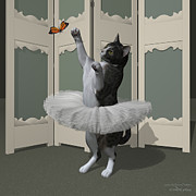 Tutus Digital Art - Grey Tabby Ballet Cat on Paw-te by Andre Price