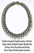 Sterling Silver Jewelry - Grey Topaz Crystal Beaded Necklace by Jennie Breeze