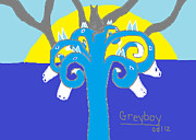 Blue And Gray Drawings - Greyboy the Strength is on Your Side by Anita Dale Livaditis