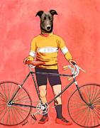 Canine Prints Digital Art Prints - Greyhound Cyclist Print by Kelly McLaughlan