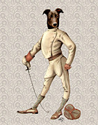 Canine Prints Digital Art Prints - GreyHound Fencer full White Print by Kelly McLaughlan