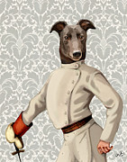 Portrait Posters Prints - GreyHound Fencer White Portrait Print by Kelly McLaughlan