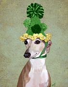 Canine Prints Digital Art Prints - Greyhound Green Bobble Hat Print by Kelly McLaughlan