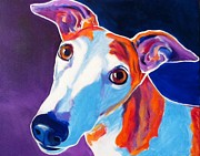 Greyhound Metal Prints - Greyhound - Halle Metal Print by Alicia VanNoy Call