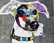 Pop Art Mixed Media Metal Prints - Greyhound Metal Print by Michel  Keck