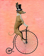 Wall Art Greeting Cards Digital Art Framed Prints - GreyHound Pennyfarthing Black Framed Print by Kelly McLaughlan