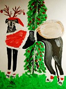 Greyhound Santa Print by Marie Bulger