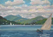 Berkshire Hills Paintings - Greylock from Pontoosuc Lake by Len Stomski