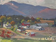 Berkshire Hills Paintings - Greylock From The Ziemba Farm by Len Stomski