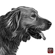 Retriever Digital Art - Greyscale Golden Retriever - 4047 FS by James Ahn