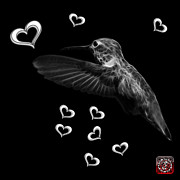 Animal Lover Digital Art - Greyscale Hummingbird - 2055 F M by James Ahn