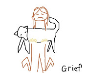 Dog Artists Drawings - Grief by Anita Dale Livaditis