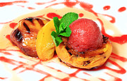 Peaches Photo Prints - Grilled Peaches and Raspberry Sorbet from the cookbook The Art of Breakfast Print by Dana Moos