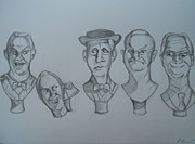 Graveyard Drawings - Grim Grinning Ghosts Singing Busts by Lisa Leeman