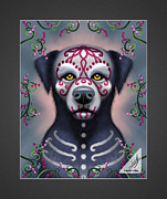 Sugar Skull Digital Art - Grimaldi the Sugar Skull Dog by Annie Dunn