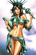 American Flag Mixed Media - Grimm Fairy Tales 2012 Giant Sized Edition NYCC Exclusive by Zenescope Entertainment