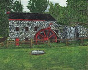 Sudbury Ma Painting Metal Prints - Grist Mill at Wayside Inn Metal Print by Cliff Wilson