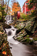 Red Barns Metal Prints - Grist Mill-Bridgewater Connecticut Metal Print by Thomas Schoeller