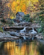 Autumn Landscape Pyrography Prints - Grist Mill  Print by Daniel Behm