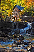 Fall Photos Prints - Grist Mill in Babcock State Park West Virginia Print by Kathleen K Parker