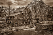 Muscatine Photos - Grist Mill In Sepia Tone by Ray Congrove