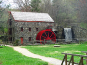 Wayside Inn Grist Mill Framed Prints - Grist Mill in Spring Framed Print by Barbara McDevitt