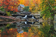 Old Mills Posters - Grist Mill in the Fall Poster by Mark Steven Perry