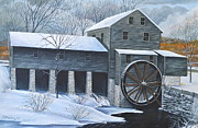 Grist Paintings - Grist Mill in Winter by Dave Hasler