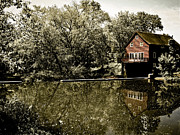 Selective Coloring Art Prints - Grist Mill on Pike Brook Print by Colleen Kammerer