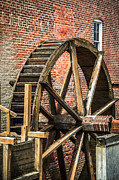 Wood Mill Photos - Grist Mill Water Wheel in Hobart Indiana by Paul Velgos