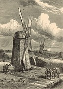 Wagon Drawings Framed Prints - Grist Windmills at East Hampton 1872 Engraving by John Karst Framed Print by Antique Engravings