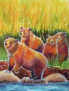 Batik Painting Posters - Grizzlies on Wapiti Creek Poster by Harriet Peck Taylor