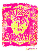 Fun New Art Posters - Grizzly Adams Poster by Monica Warhol