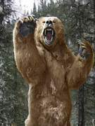 Kodiak Digital Art - GRIZZLY BEAR ATTACK on the TRAIL by Daniel Hagerman