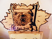 Log Cabin Art Pyrography Prints - Grizzly bear Print by Egri George-Christian