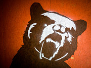 Spray Paint Posters - Grizzly Bear Graffiti Poster by Edward Fielding