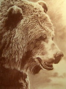Grizzly Pastels Prints - Grizzly Bear Print by Tim  Joyner