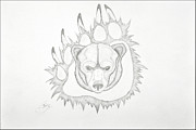 Bear Paw Drawings - Grizzly by Bruce Bentley