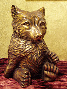 Bear Sculpture Posters - Grizzly Cub Bronze Poster by Lori Salisbury