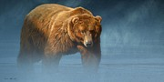 Wildlife Metal Prints - Grizzly Encounter Metal Print by Aaron Blaise