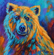 Colorful Animals Framed Prints - Grizzly Stare Framed Print by Theresa Paden