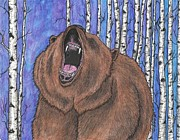 Kodiak Bear Paintings - Grizzly by William Biery III