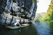Binh Prints - Groceries Boats in Tam Coc Grotto Print by Hoang Tran