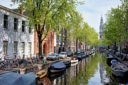 Linked Metal Prints - Groenburgwal Canal in Amsterdam Metal Print by Artur Bogacki