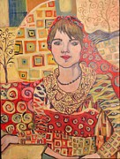 Klimt Painting Originals - Groovy by Dona Davis
