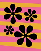 70s Digital Art - Groovy Flowers I by Donna Mibus