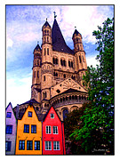 Cologne Framed Prints - Gross St. Martin in Cologne Germany Framed Print by Joan  Minchak